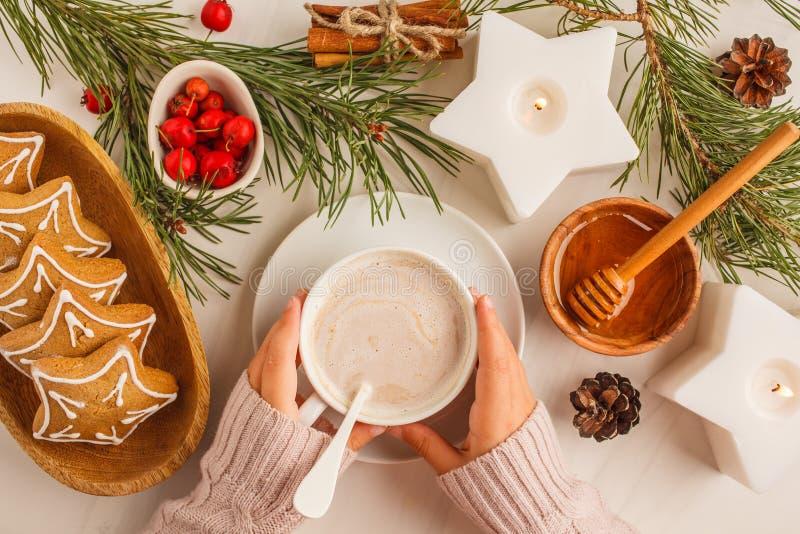 Endecha plana de la Navidad con las galletas y el cacao del jengibre Parte posterior de la Navidad imagenes de archivo