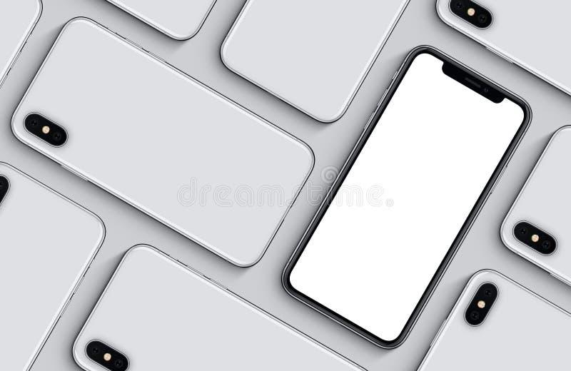 Endecha plana de la opinión superior de los lados delanteros y traseros del modelo de la maqueta de los smartphones en fondo gris stock de ilustración