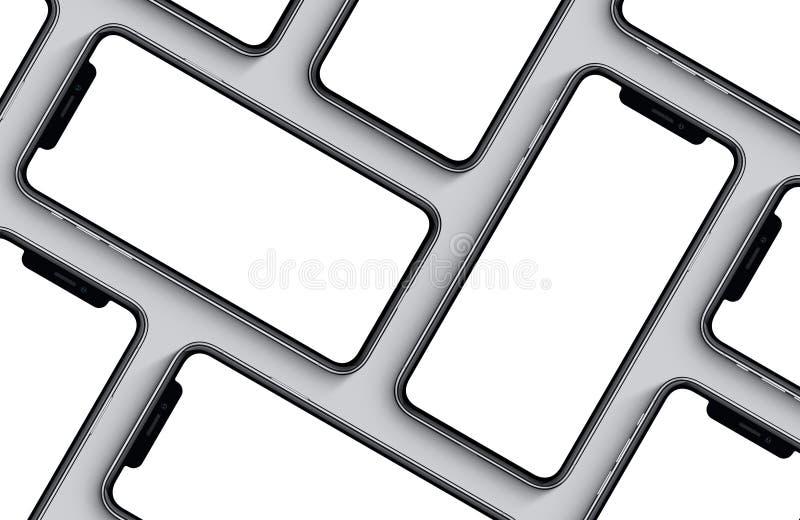 Endecha plana de la opinión superior de la maqueta de la parte delantera de los smartphones en fondo gris ilustración del vector