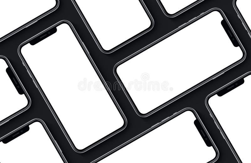 Endecha plana de la opinión superior de la maqueta de la parte delantera de los smartphones en fondo negro stock de ilustración