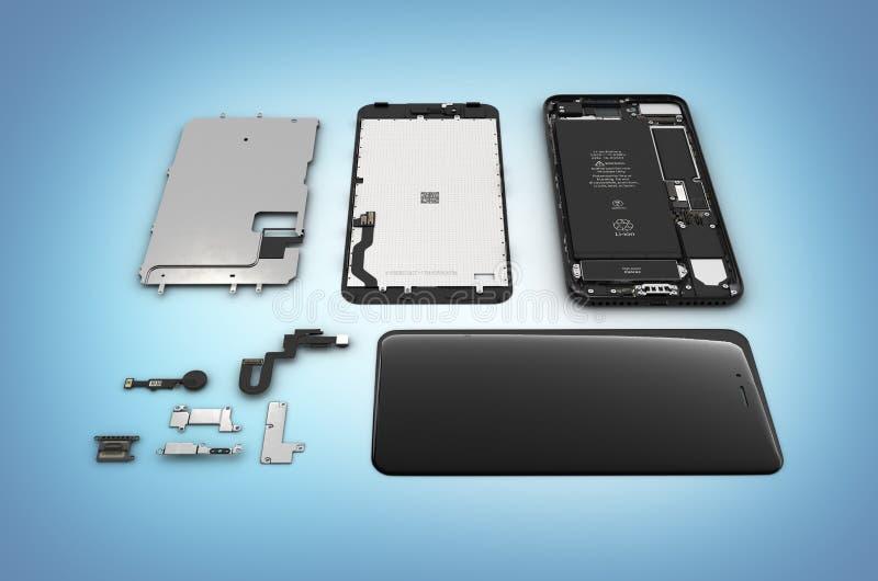 Endecha plana de los componentes del smartphone en el ilustration azul del fondo 3d de la pendiente ilustración del vector