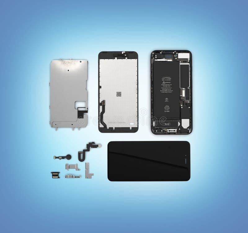 Endecha plana de los componentes del smartphone en el ilustration azul de la opinión de top del fondo de la pendiente 3d ilustración del vector