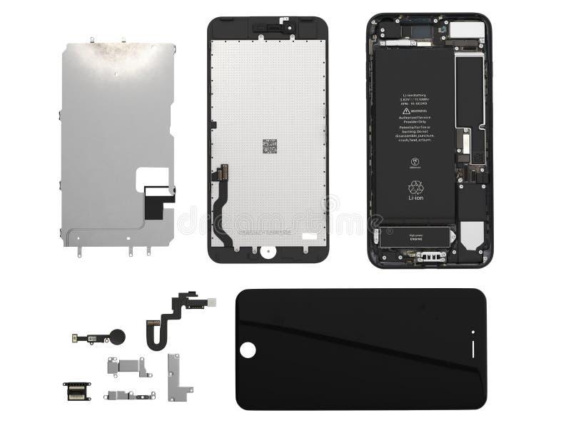 Endecha plana de los componentes del smartphone en el ilustration blanco de la opinión superior 3d del fondo sin la sombra stock de ilustración