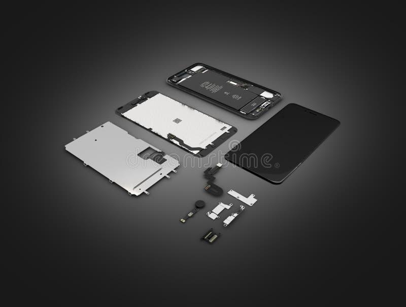 Endecha plana de los componentes del smartphone en el ilustration negro del fondo 3d de la pendiente libre illustration