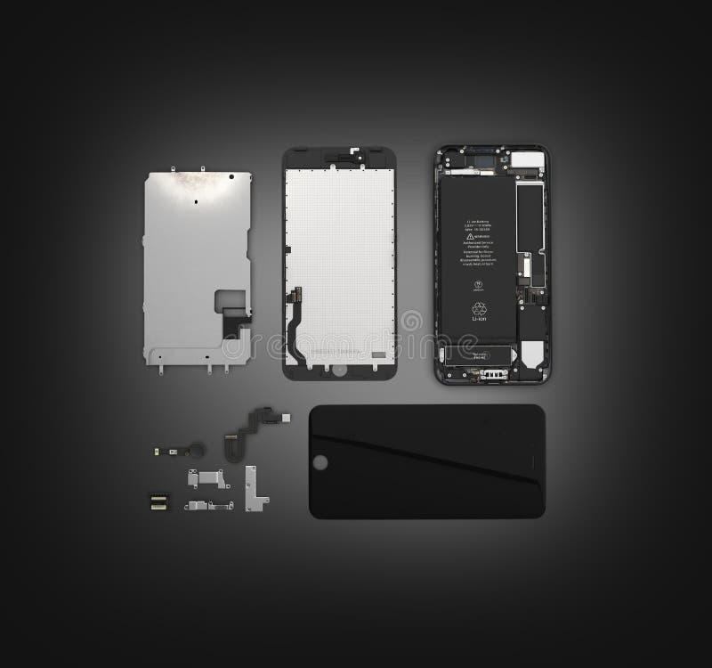 Endecha plana de los componentes del smartphone en el ilustration negro de la opinión de top del fondo de la pendiente 3d ilustración del vector