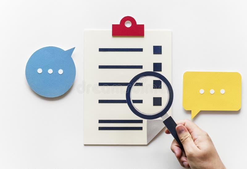 Endecha plana del arte de papel de la investigación de los datos stock de ilustración