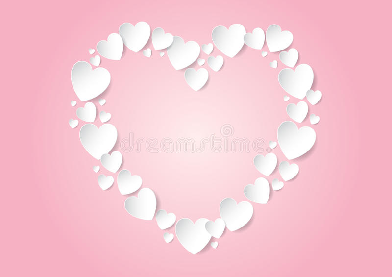 Endecha plana del corazón del día de tarjetas del día de San Valentín con los corazones blancos del papel del vector ilustración del vector