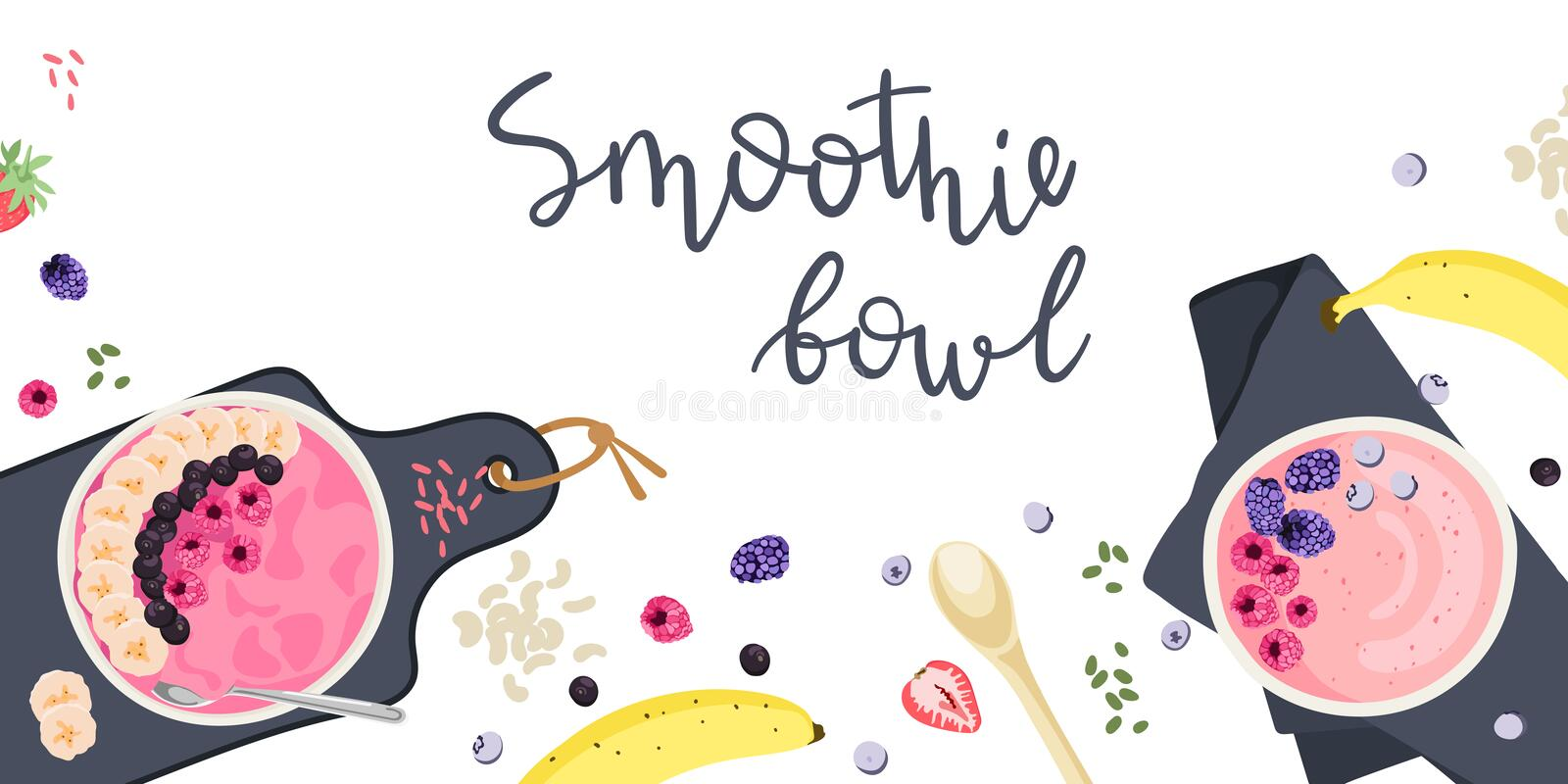 Endecha plana del cuenco del Smoothie libre illustration