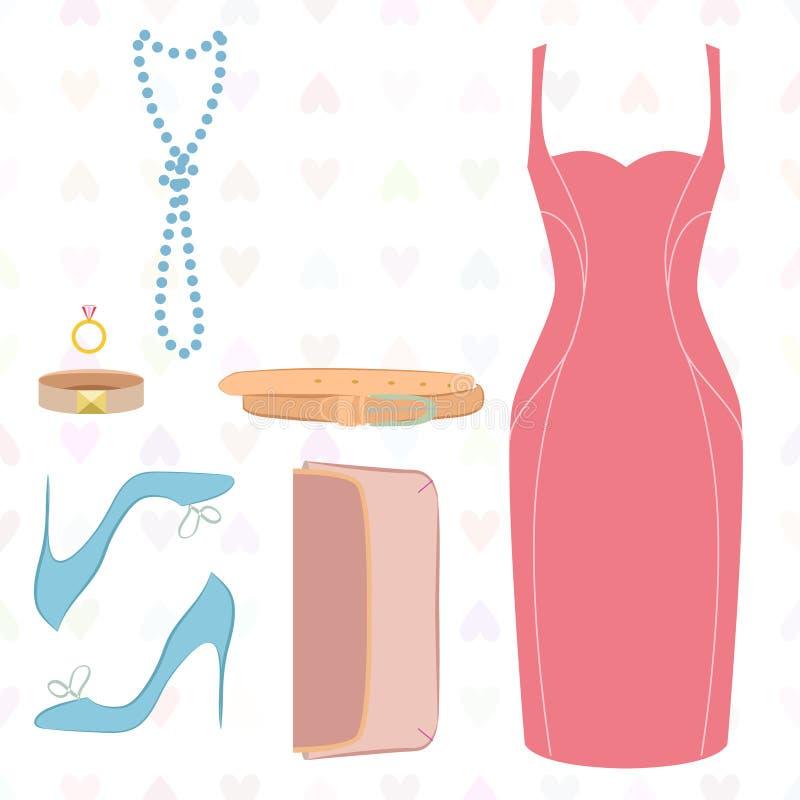 Endecha plana del vestido, zapatos, embrague ilustración del vector