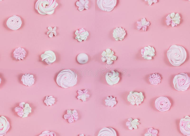 Endecha plana en colores pastel dulce rosada de la fiesta de cumpleaños del modelo fotos de archivo