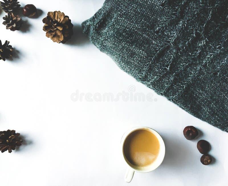 Endecha plana en el fondo blanco - la taza de café, conos del pino, hizo punto la tela escocesa, maqueta del suéter imagen de archivo