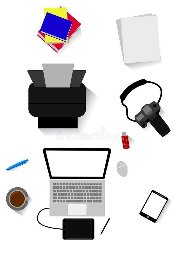 Endecha plana o visión superior, libro, papel, impresora, dslr, cuaderno, pluma de dibujo, etiqueta de la pluma, ratón, flashdisk stock de ilustración