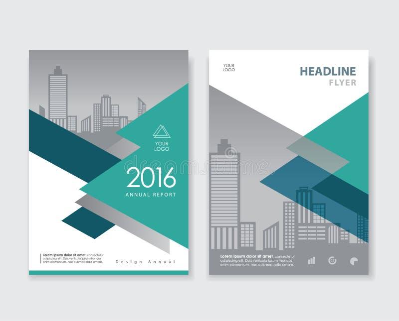 Endecha verde del diseño de la cubierta de libro del prospecto del folleto del aviador del informe anual ilustración del vector