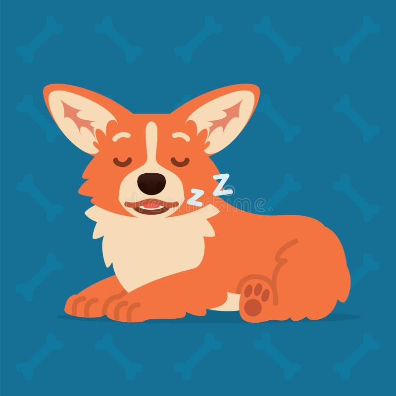 Endecha y sueño lindos del Corgi Galés Elemento para su diseño, impresión, charla, etiqueta engomada Emoji Ejemplo del vector del ilustración del vector