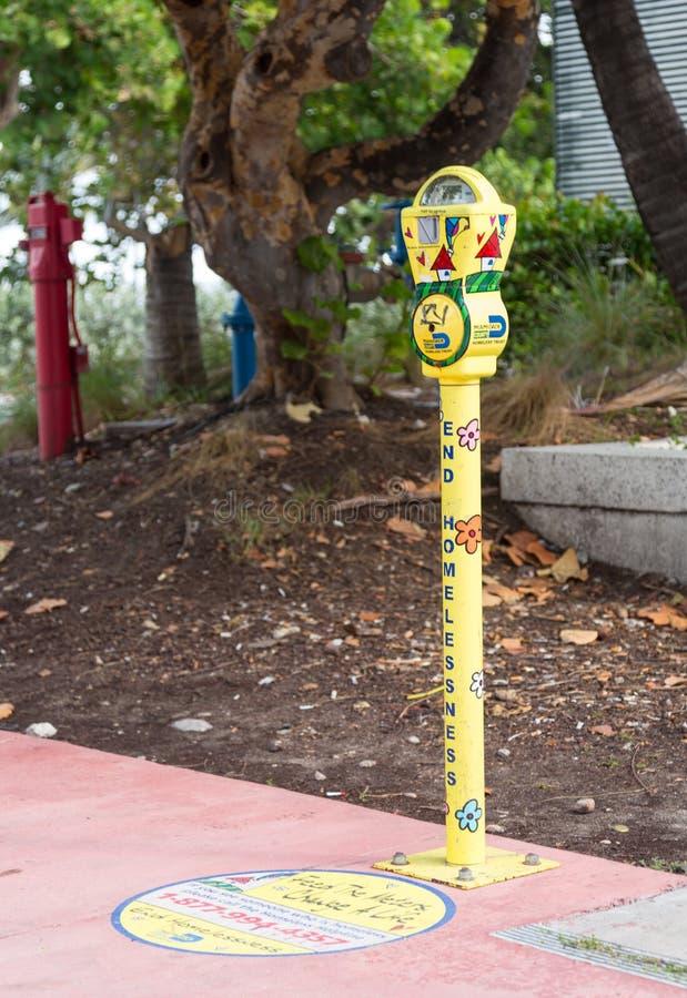 Enden-Heimatlosigkeit-Parkuhr Miami lizenzfreies stockfoto