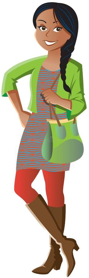 Endereço vestindo e botas da menina ética imagens de stock