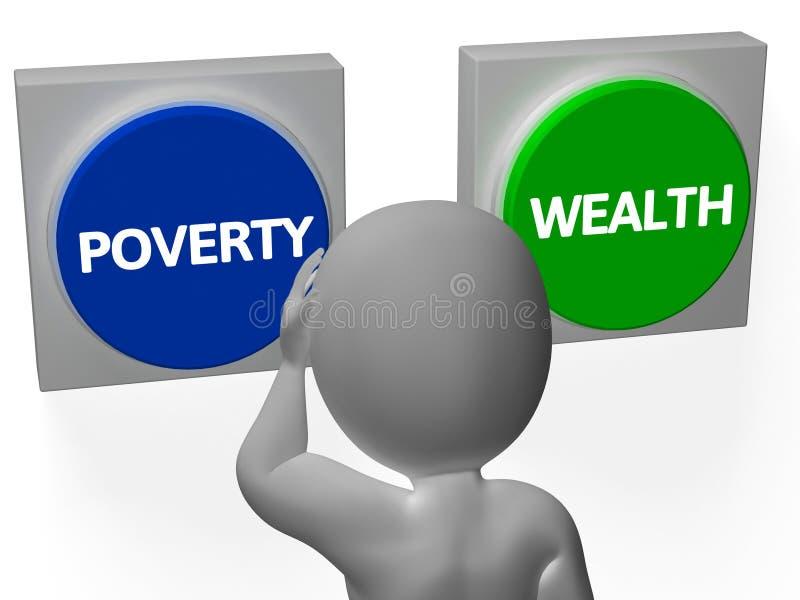 Endettement ou opulence d'exposition de boutons de richesse de pauvreté illustration de vecteur