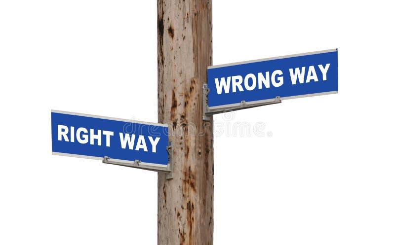 Endireite a maneira & a maneira errada imagem de stock
