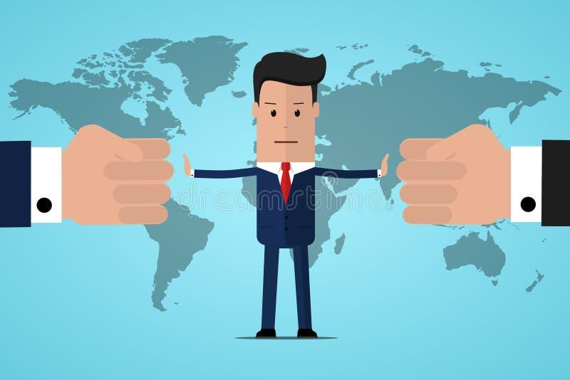 Endkonflikt Geschäftsmannreferent findet Kompromiss Vermittler, der Wettbewerb löst Konflikt und Lösung Der Mann wirft zwei Fäust stock abbildung