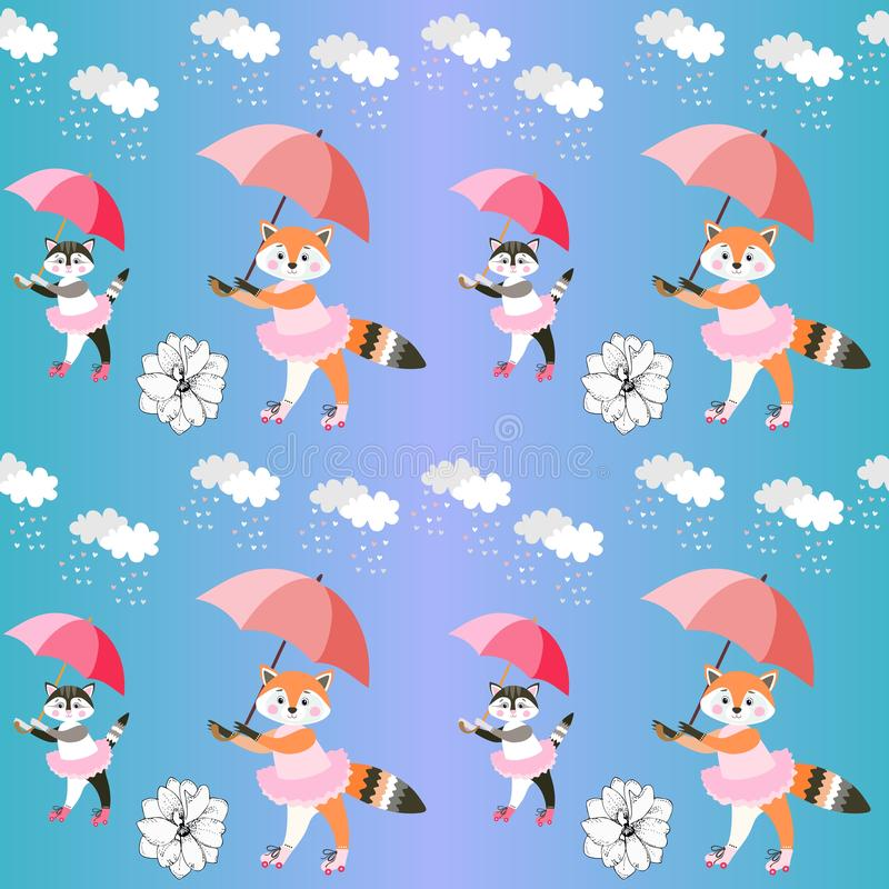 Endless background with cute little foxes and kittens with umbrellas on gradient blue background. Vector summer design.  stock illustration