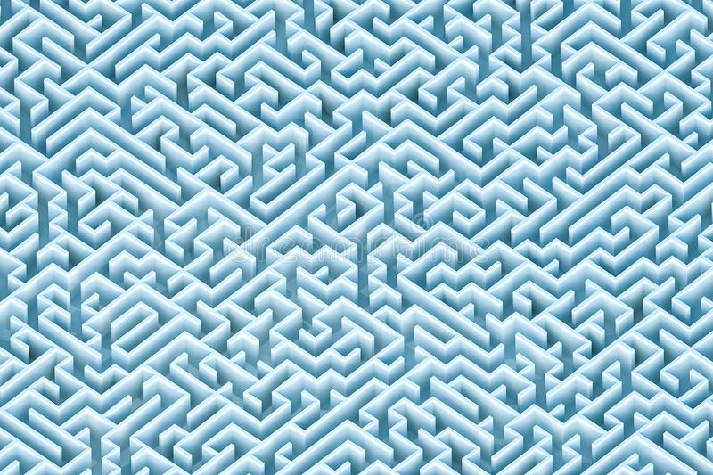Endless blue green rectangular maze or labyrinth architecture wallpaper, background or backdrop. Aerial view. 3d render royalty free illustration