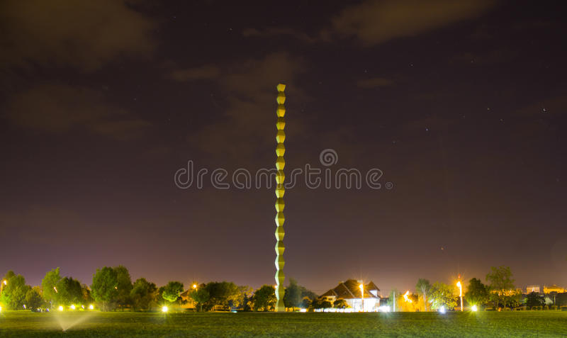 The Endless column by night royalty free stock photography