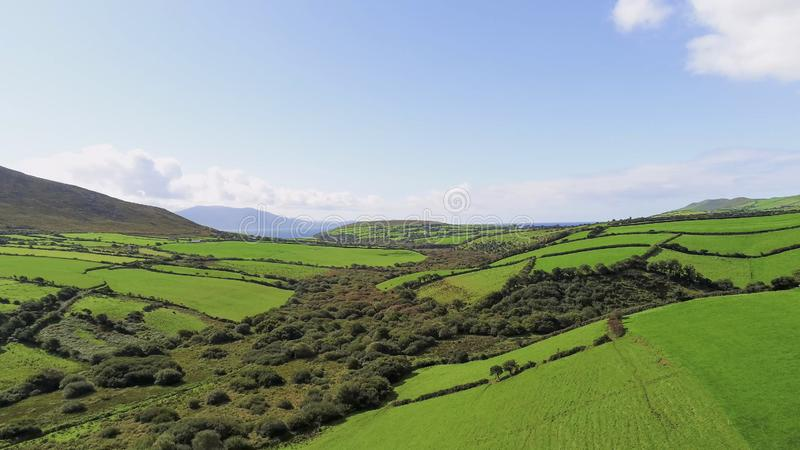 The endless green grass fields of Ireland Aerial view over typical landscape. Travel photography royalty free stock images