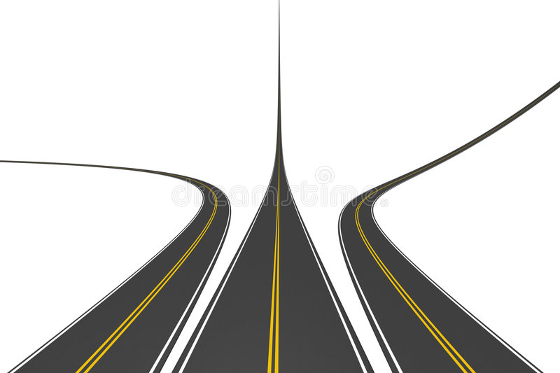 Endless highways. Isolated on white vector illustration