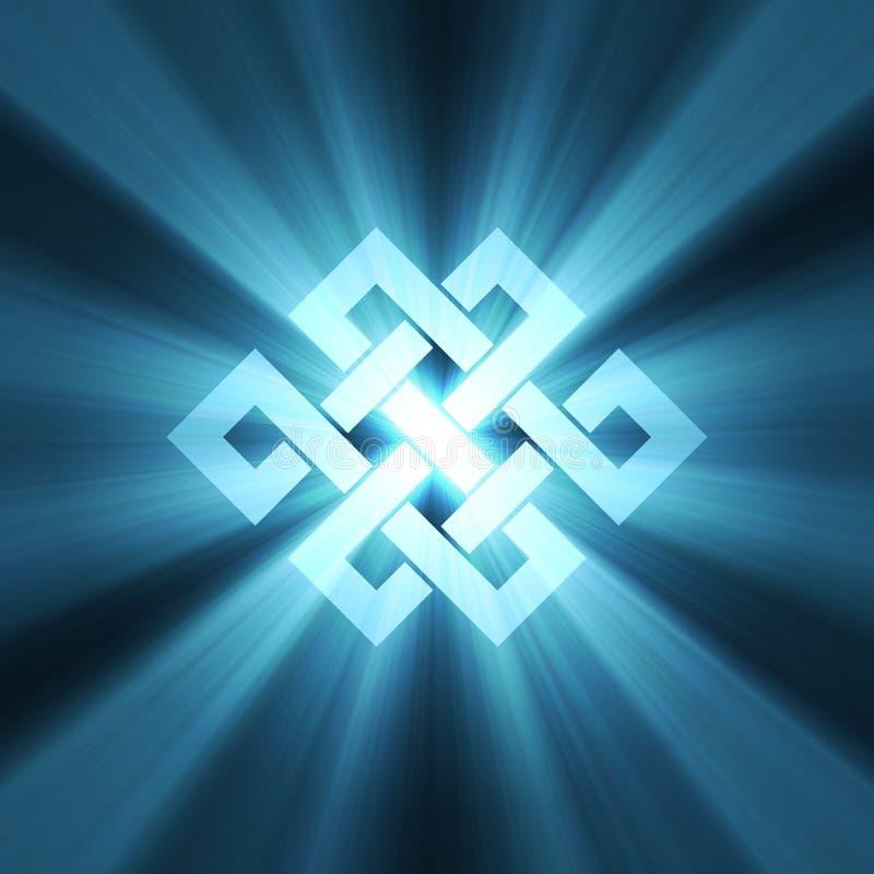 Eternal knot charm sign light flare royalty free illustration