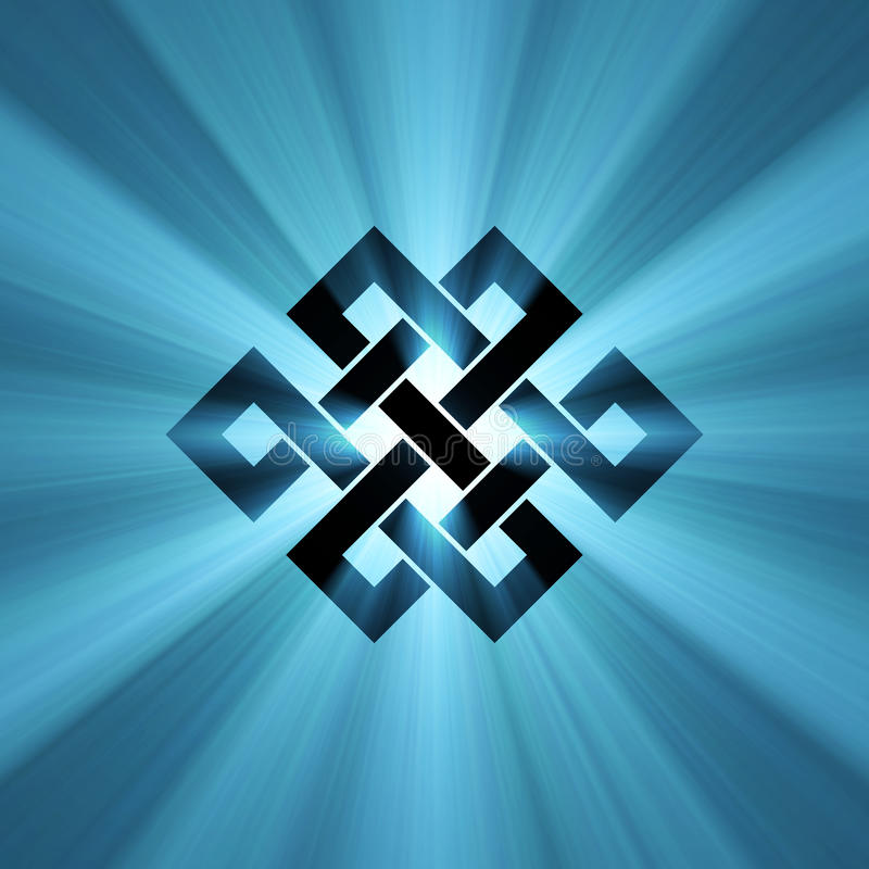 Endless knot blue shining light flare royalty free illustration