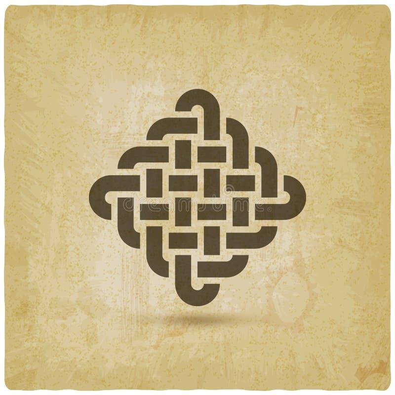 Endless Knot, symbole abstrait, fond vintage illustration libre de droits