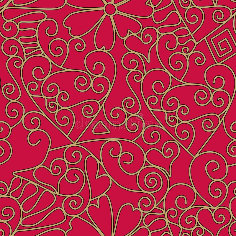 Endless lace pattern on red background. Romantic print for fabric, wallpaper, wrapping design.  vector illustration