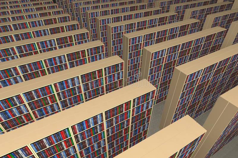 Endless library. An infinite library with rows of bookshelfs filled with books - all the titles and logos of my autorship - digital artwork vector illustration