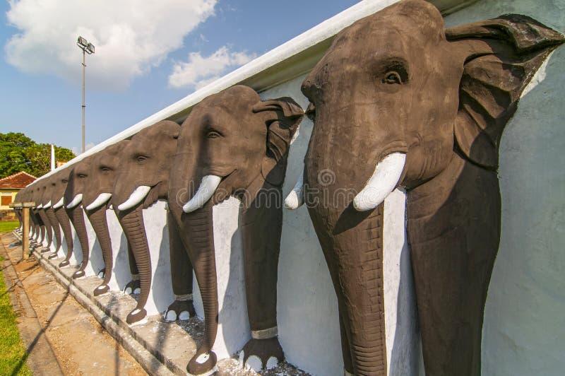 An endless line of carved elephants protect the Ruwanwelisaya Stupa in the sacred city of Anuradhapura in Sri Lanka royalty free stock image