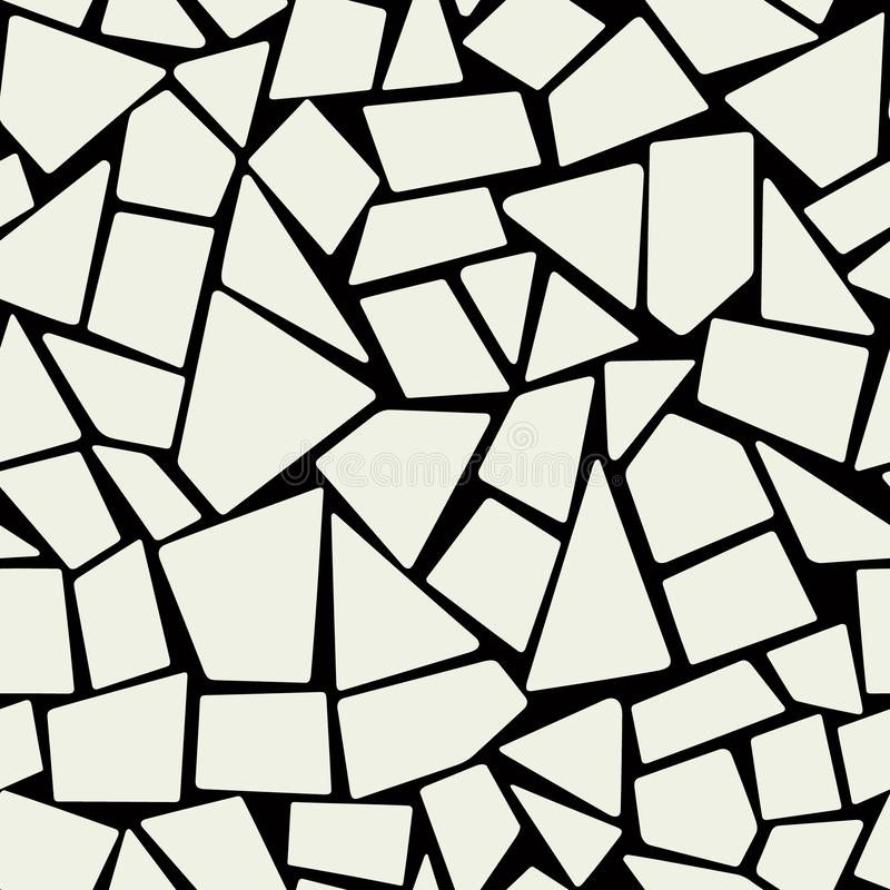 Endless marble mosaic. Monochrome vector design. Irregular rock pavement decor. Bathroom seamless pattern stock illustration