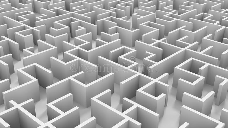 Endless maze. A 3D endless maze with white walls vector illustration