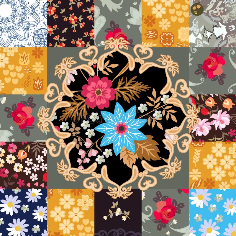 Endless patchwork pattern with cute floral and paisley ornament in vector. Indian, indonesian, turkish motives. Stylization. Square greeting or invitation card vector illustration