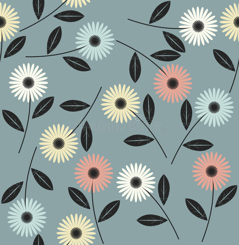 Endless pattern with abstract flowers vector illustration