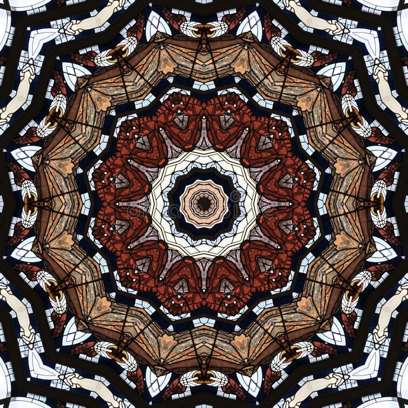 Endless pattern , art nouveau church window seen through kaleidoscope. Digital art design, details of a art nouveau window in a church seen through a royalty free illustration