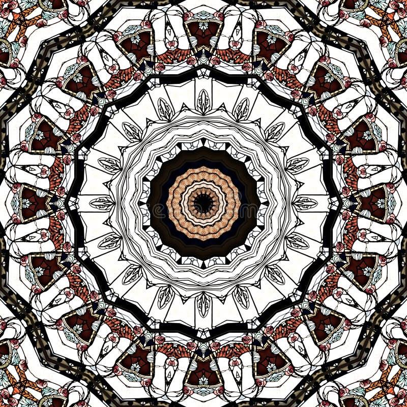 Endless pattern , art nouveau church window seen through kaleidoscope. Digital art design, details of a art nouveau window in a church seen through a vector illustration