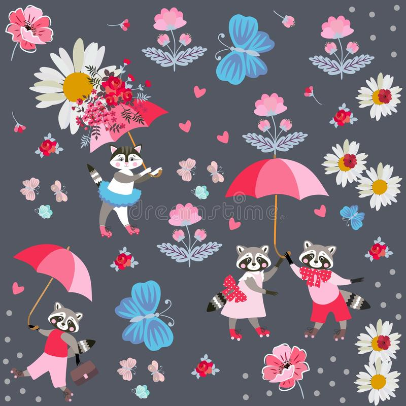 Endless pattern for baby with cute cartoon little raccoons and kitty with umbrellas, butterflies, pink hearts and flowers vector illustration