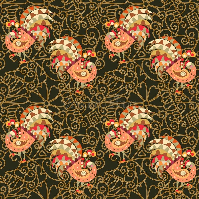 Endless pattern with fairy peacocks on golden lace background. Indian, turkish, thai, persian motifs. Print for fabric.  vector illustration