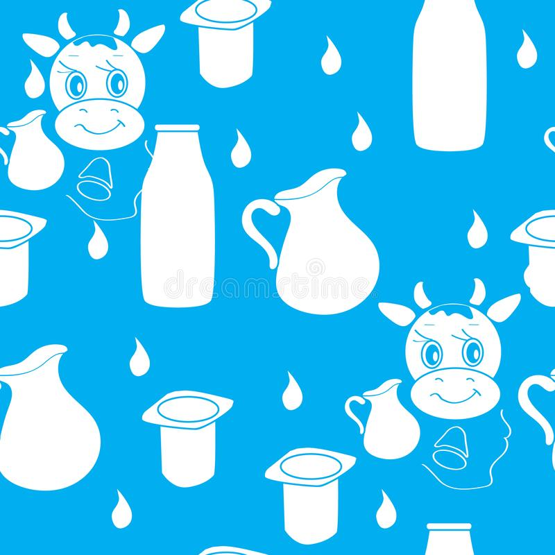 Endless pattern with milk, jug and cow on blue background royalty free stock photos