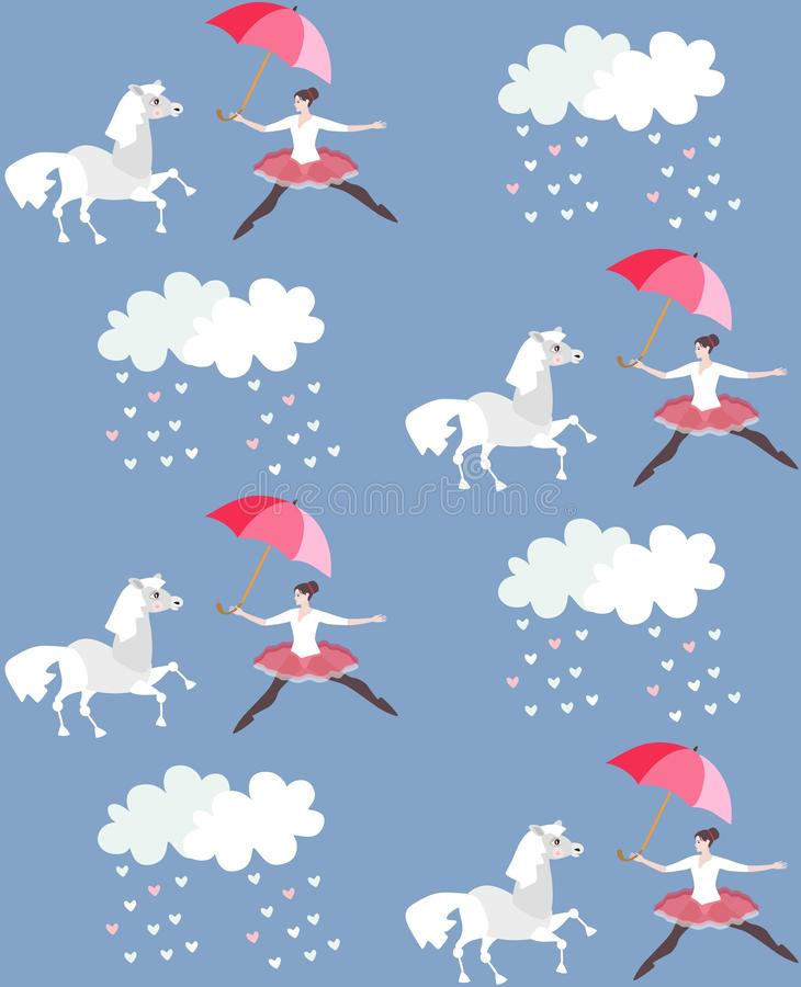 Endless print for fabric or wallpaper. Funny ballerina with umbrella, grey cartoon horse and clouds in blue sky. Vector design. Endless print for fabric or stock illustration