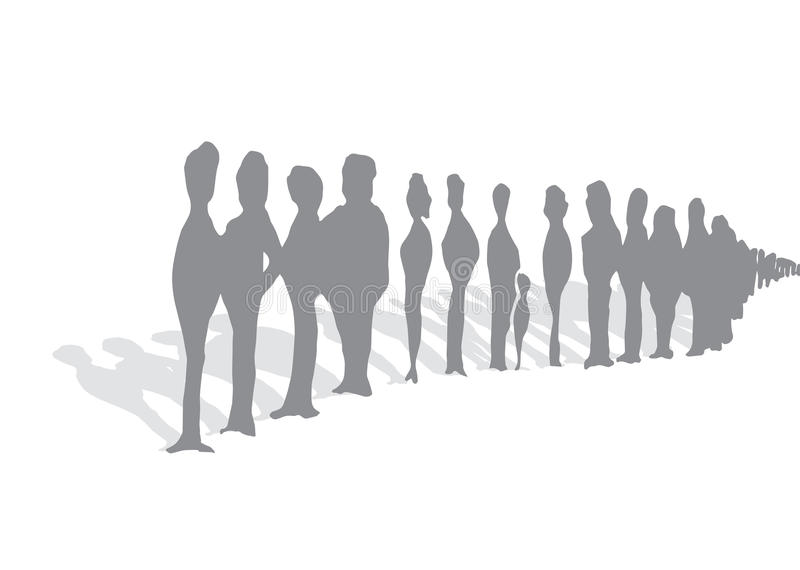 Endless queue of people royalty free illustration