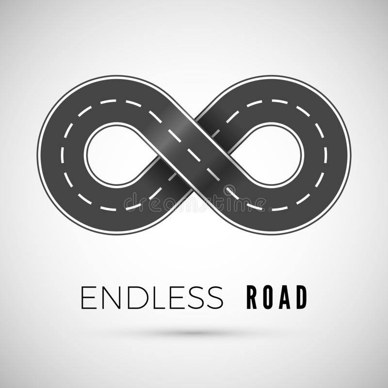 Endless realistic road in shape of infinity sign. Graphic transportation concept. Vector illustration royalty free illustration