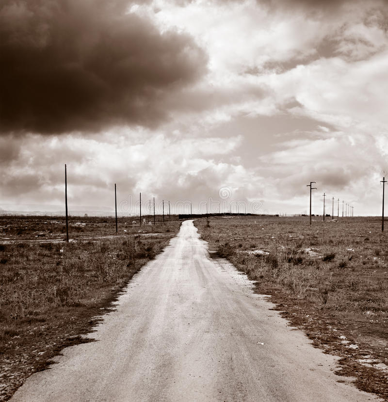Endless road. Endless, long and straight road royalty free stock photography