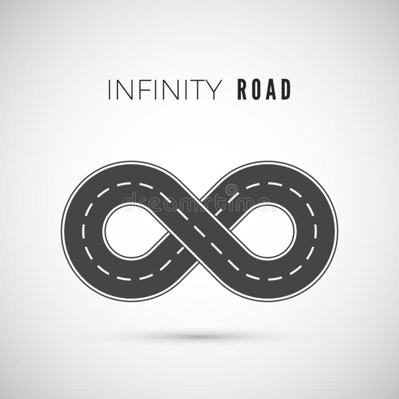 Endless road - infinity sign. Loop way symbol. Vector illustration royalty free illustration