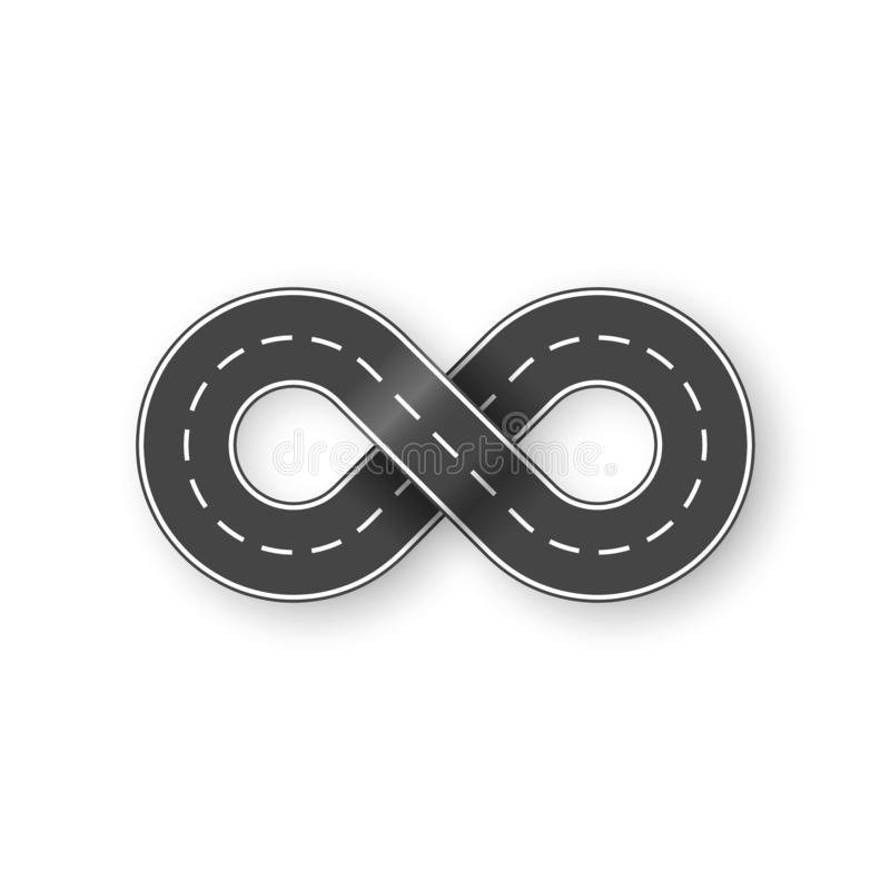 Endless road in shape of infinity sign. Graphic transportation concept. Vector illustration isolated on white background royalty free illustration