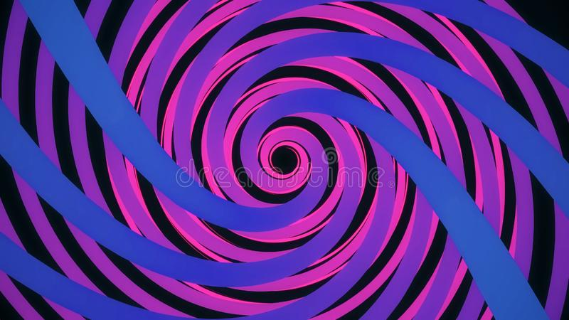 Endless spinning revolving spiral, hypnotizing effect, seamless loop. Animation. Abstract bright helix in purple and vector illustration